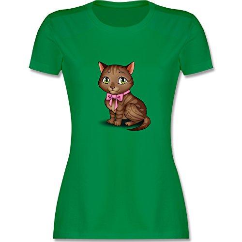 Katzen - Kätzchen mit Schleife - tailliertes Premium T-Shirt mit Rundhalsausschnitt für Damen Grün