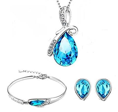 SaySure - Silver Plated Set With Blue Crystal Bracelet Bangle