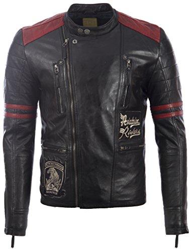 Herren echt super-weichen schwarzen Leder Biker Jacke mit roten Streifen auf Arme und Motorrad Abzeichen MDK