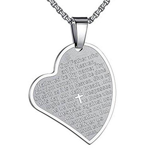 (PAMTIER Edelstahl Herz Form Bibel Vers Gebet Halskette mit Freier Kette Christian Schmuck Medaille Anhänger für Männer Frauen Silber Ton)