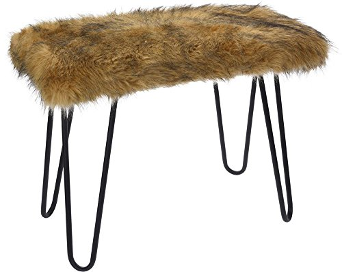 Home @ Styling Collection Fur Banc Design avec siège en Fourrure 60 x 50 x 30 cm