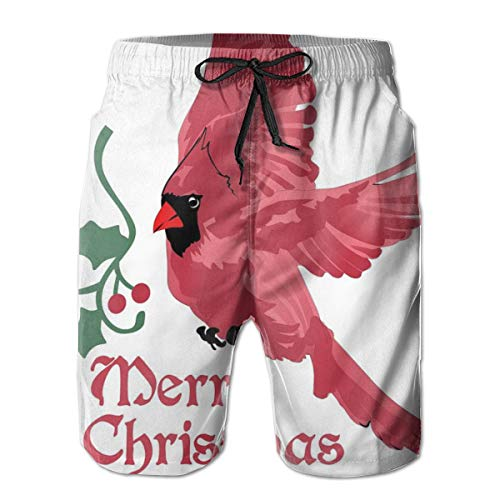 Men Swim Trunks Beach Shorts,North American Bird with Holly Berry Silhouette Aquarelle Animal Design XL Holly Berry Designs