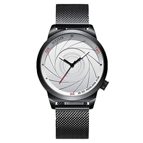 Herrenuhren Herren Kreative Optische Phantomuhr Herrenmode Persönlichkeit Trend Uhr Quarz Uhr Clock Clock Black-Shell Und Weißgesichteter Gürtel -