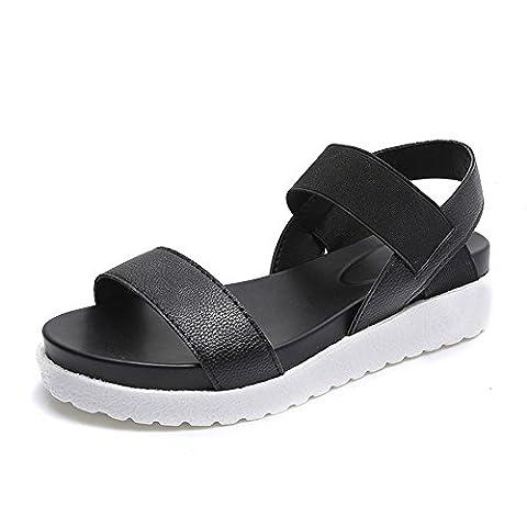 Sandalen Damen Flach Sommer Leder Strand Peep Toe Metallic Plateau Schuhe Schwarz Weiß Silber 35-40 Schwarz 40
