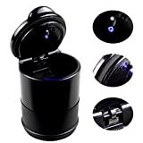 #7: SUNRISE Portable Car Cigarette Ashtray Smokeless for Most Car Cup Holder (Black with Blue LED Light)