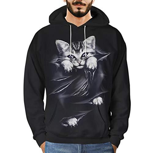 Manadlian Hoodies Sweatshirt Pullover Herren 3D Katze Gedruckt Zur Seite Fahren Lange Ärmel Mit Kapuze Sweatshirt Oberteile Bluse -