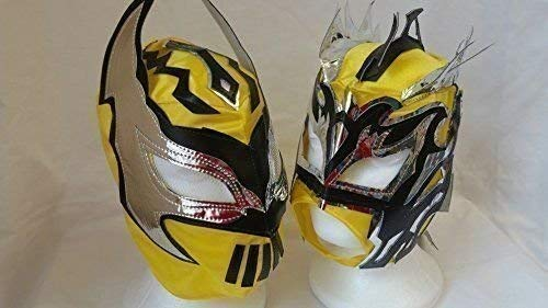 AMARILLO - Lucha Dragones Etiqueta Equipo Infantil Máscaras De Lucha Libre (Ambos Máscaras)