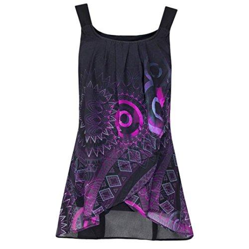 SEWORLD Damen Sommer Mode Drucken Drucken Shirt Ärmelloses O-Ausschnitt Batik Weste Camis Tank Tops Bluse Leibchen (Hot Pink,EU-40/CN-L)