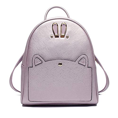Nvfshreu Trendy Lavendel Rucksack Handtasche Pu Leder Rucksäcke Reise Schule Taschen Einfacher Stil Süß Kaninchen Ohr Daypacks Für Mädchen, (Color : Lavendel Rucksack, Size : One Size) - Lavendel Kaninchen
