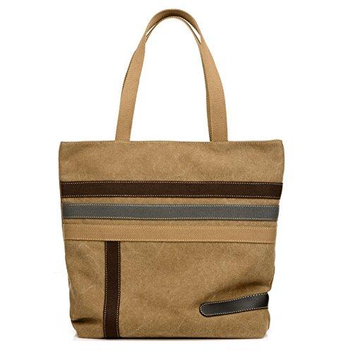 Magic Zone Damen Canvas Baumwoll Shopper Bag mit langen Henkeln Handtasche Groß College Bag für Studente 31 x 9 x 35 cm (Geldbörse Baumwolle Gesteppte)