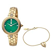 Just Cavalli Valentine's Special Women's Green Dial Stainless Steel Analog Watch Bracelet Set - JC1L128M0575