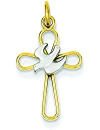 Sterling Silver Gold-Flashed Pierced Out Cross With Dove Pendant