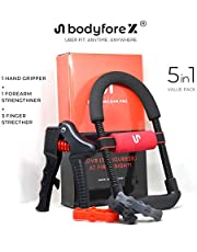 Body Fore-X Pro 5-in-1 Value Pack - Adjustable Ergonomic Forearm Exerciser (Upto 50 KGs), Adjustable Hand Grip Exerciser (Upto 70 KGs) , Finger Resistance Bands Stretcher (3-5 KGs) Workout Kit With Bag for Physical Therapy, Home Workout, Exercise - Ideal For Athletes, Sportsmen, Fitness Enthusiasts and Professionals