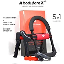 Hand Grip Body Fore-X Pro 5-in-1 Value Pack - Adjustable Ergonomic Forearm Exerciser (Upto 50 KGs), Adjustable Hand Gripper (Upto 70 KGs) , Finger Resistance Bands Stretcher (3-5 KGs) Workout Kit With Bag for Physical Therapy, Home Workout, Exercise - Ideal For Athletes, Sportsmen, Fitness Enthusiasts and Professionals