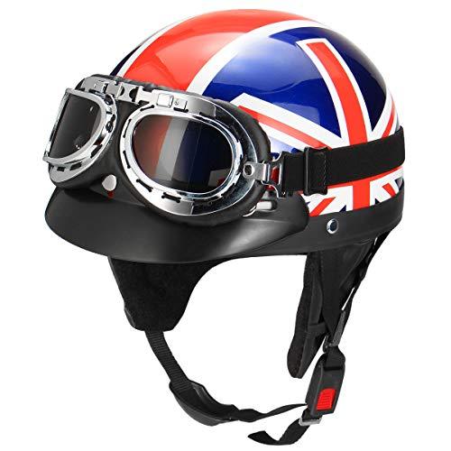 39b497f4 YONGYAO Retro Uk Flag Motorcycle Half Face Helmet Biker Scooter With Sun  Visor Uv Goggles Cafe
