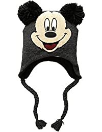 92fac580 Disney Men's Mickey Mouse Pom Ears Winter Hat, Peruvian Knit Beanie, Black,  One