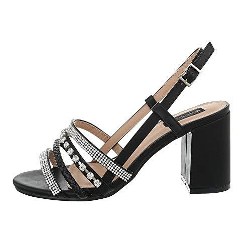Ital-Design Damenschuhe Sandalen & Sandaletten High Heel Sandaletten Synthetik Schwarz Gr. 40 -