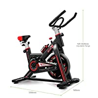 Spin Bike With Monitor Exercise Bike Indoor Ultra Silent Belt Drive Cardio Workout Machine Upright Bike Home Gym 330 Lbs Max (Color : BLACK+RED)