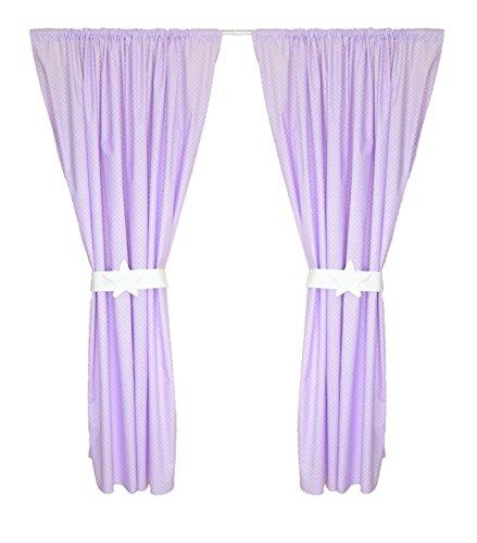 Amilian® Kinderzimmer Vorhänge 155 x 155 cm Set mit Schlaufen Baby Gardinen Vorhang Pünktchen Violett - Baby-mädchen-kinderzimmer-fenster-vorhang