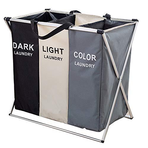 Laundry basket portabiancheria multifunzione pieghevole, lavorazione del tessuto, staffa a forma di x in alluminio, design della maniglia, valigia semplice