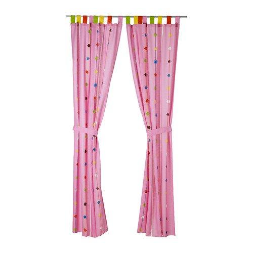 IKEA FESTLIG-Vorhang mit Raffhalter, Pink/2Stück-120x 300cm