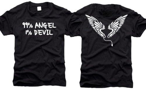 99% angelo/1% Teufel - 99% Angel/1% Devil - T-Shirt - Taglia XXL