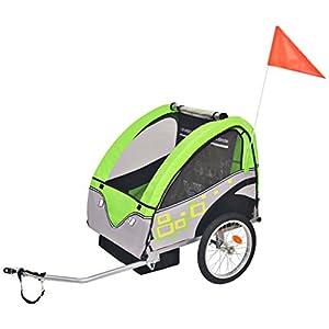 Roderick Irving Fahrradanhänger Kinderfahrradanhänger grau grün 30 kg Fahrradanhänger Sitzfach Maße: 62 x 72 x 61 cm (B…