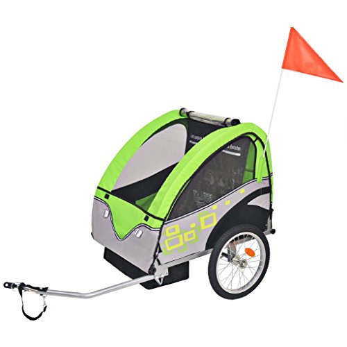 vidaXL Unisex- Erwachsene Kinder Fahrradanhänger Grau Grün 30kg Kinderanhänger Anhänger Transport, One Size
