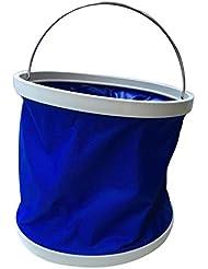 Cubo de agua plegable plegable 11L multifuncionales para pesca Camping Senderismo viajes jardinería con empuñadura de mango EVA, tela resistente al agua, Ultra Portable Shape(pack of 2)