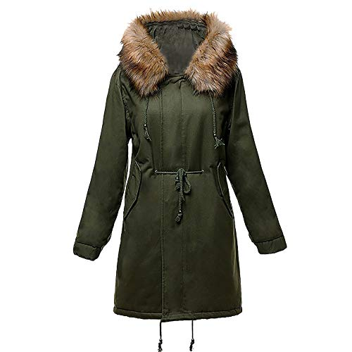 Zolimx Mode Winter warme Frauen Jacke Lammwolle Baumwolle Mantel Parka Pelz Dicker Outwear - Frauen Peak Mantel