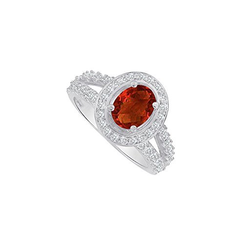 Ruby and CZ Split Shank Halo Engagement Ring 1.5 CT TW (Ruby Und Garnet Ring)