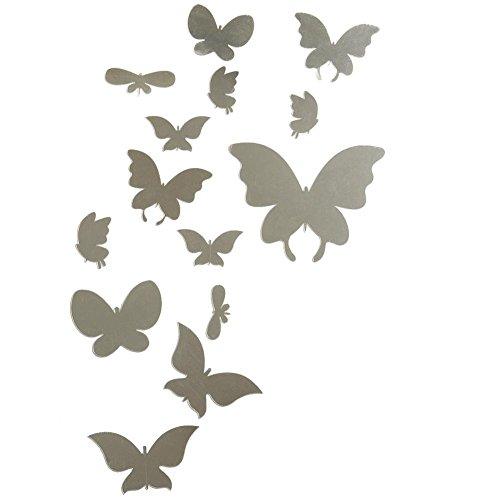 Itian 14 Pezzi Adesivi Decorativi Effetto Specchio Farfalle d'argento con Colla Staccabile, per Decorazione della Parete / Vetro / Porta