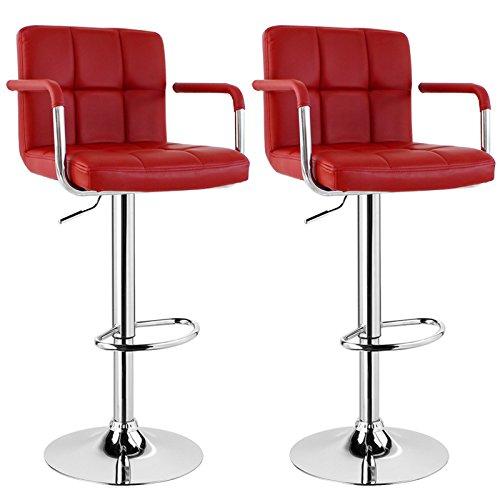 WOLTU BH16 Serie Design Barhocker mit Armlehne , 2er Set , stufenlose Höhenverstellung , verchromter Stahl , Antirutschgummi , pflegeleichter Kunstleder , gut gepolsterte Sitzfläche (Bordeaux)
