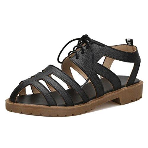 TAOFFEN Damen Klassischer Schnurung Strappy Sandalen Ausgeschnitten Fesselriemen Sommer Schuhe Schwarz