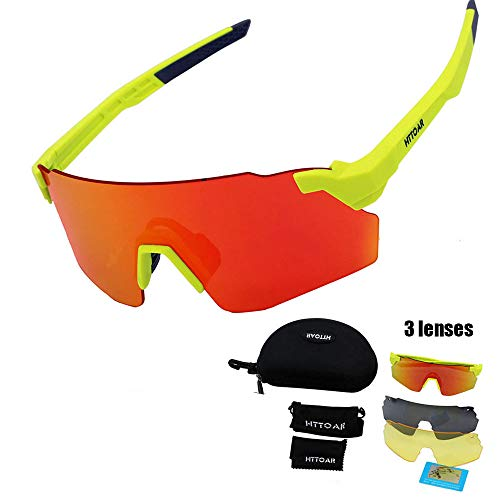 HTTOAR Gafas de Sol Deportivas al Aire Libre protección UV400 Bicicleta Gafas polarizadas, adecuadas para Ciclismo Gafas béisbol Pesca esquí Correr Conducir Gafas (Green)
