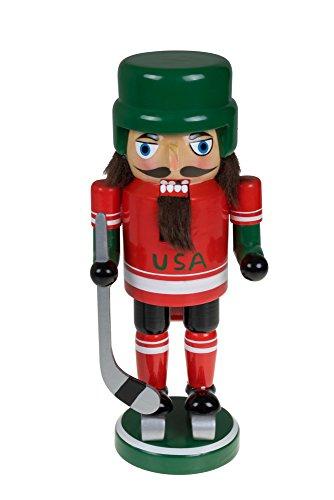 Clever Creations - Nussknacker-Eishockeyspieler mit Schlittschuhen, Helm & Schläger - Sammlerstück - Festliche Weihnachtsdeko - 100% Holz - 22,9 cm