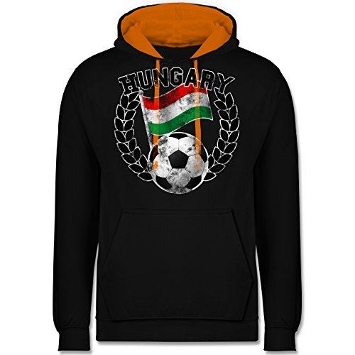 Fußball - Hungary Flagge & Fußball Vintage - Kontrast Hoodie Schwarz/Orange