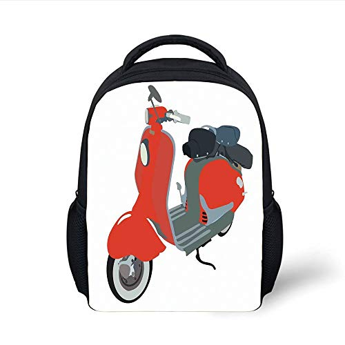 Kids School Backpack 1960s Decorations,Motor Scooter Doodle in Nice Sixties Style Driving Motorcycle Urban Cartoon Clipart Decorative, Plain Bookbag Travel Daypack