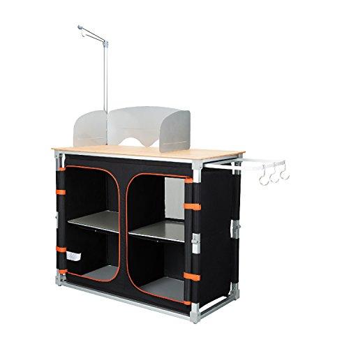 KingCamp Bambus-Küche Tisch, Multifunktionsgerät mit Aluminium-Rahmen und verschiedenen Fächern, für Camping, Picknick, Grill, schwarz
