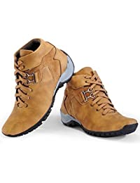 Arawali Mens Tan Synthetic Leather Boots/Casual Shoes