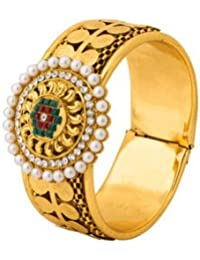 Voylla Gold Plated Cuff Bracelet With Coin Detailing