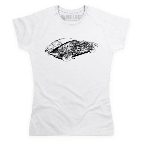 Jag E Type Cutaway T-Shirt, Damen Wei