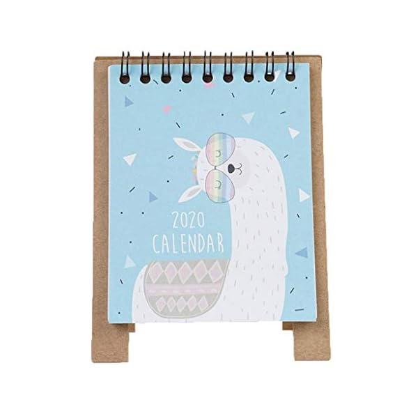 RROVE 2020 Table Calendar Cute Cartoon Desktop Paper Calendar, Multi-Function Timetable Plan Notebook 1