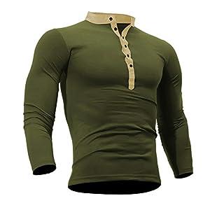 FRAUIT Frühling Herbst Herren Baumwolle Einfarbig Langarm Hemd Knopf T Shirt Hemd
