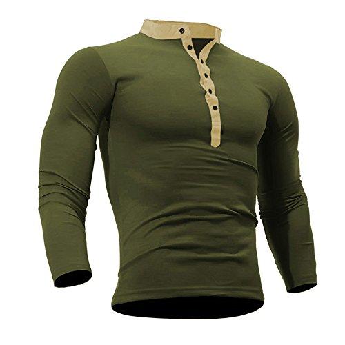 nner Herren Männer Frühling Herbst Baumwolle T-shirt Männer Einfarbig T-shirt Langarm Top Herren Einfarbig Casual Top (Armeegrün, XL=EUM) (Grüner Mann Anzüge)