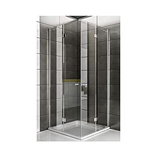 Duschkabine Eckeinstieg / Eck Duschabtrennung / Dusche ca. 80 x 80 x 200 cm / Echtglas Eck Dusche / rahmenlose Duschkabine / Alpenberger / Modell Quadri Clear / Duschabtrennung aus Sicherheitsglas