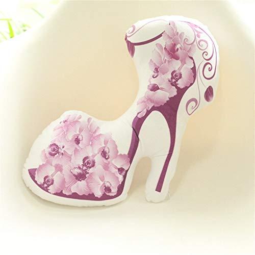 1pc 30 centimetri creativo di simulazione ad alta scarpe col tacco cuscini farcito fiore sveglio della peluche del giocattolo bambini bambola bella Ufficio Nap Pillow ( Color : Purple flower )