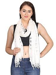 Indian Fashion Guru White Net Dupatta for women
