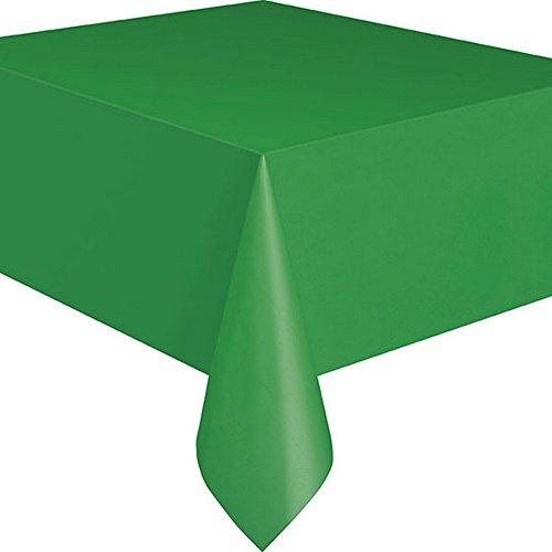 Unique Party - Tovaglia in plastica riutilizzabile rettangolare (19 colori, venduto singolarmente) (Taglia unica) (Verde
