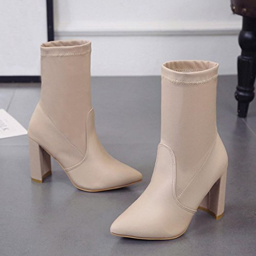 Femmes Chaussures Bottes À Talons Hauts, Somesun Mode Haute Talon Bottes Femmes Bottes Dames Classique Stretch Beige Cheville Tissu